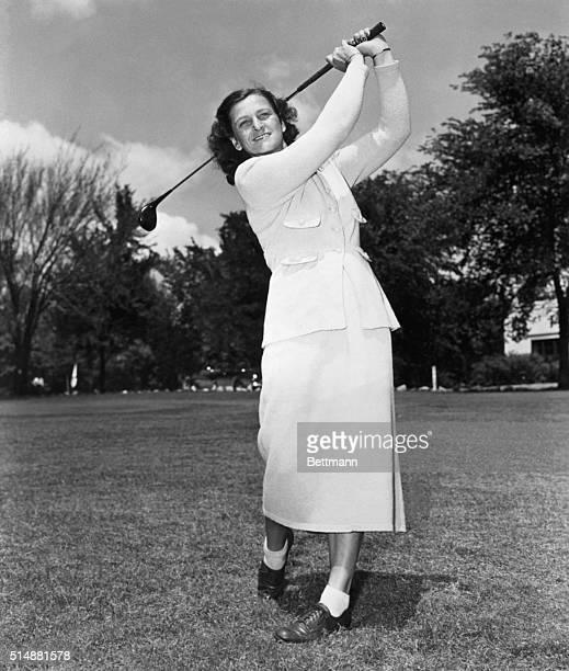 Mildred Didrikson, famous golfer, swinging club. Undated photograph. BPA2# 2240