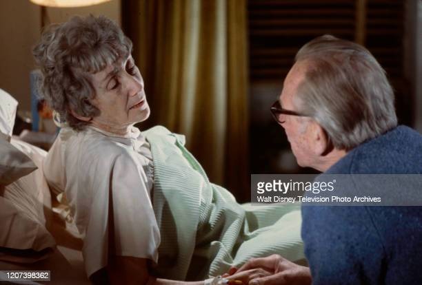 Mildred Dunnock, Melvyn Douglas appearing in the ABC tv movie 'Murder or Mercy'.