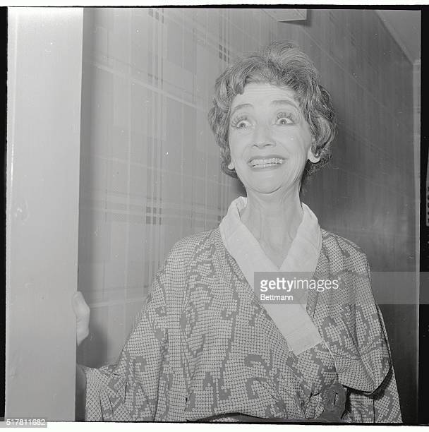 Mildred Dunnock who stars in the new Broadway play The Milk Train Doesn't Stop Here Any More now at the Morosco Theater goes to her dressing room...