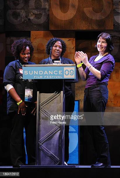 """Mildred Nycabo, director Kim Longinotto and Thuli Sibiya accept the award for World Cinema Grand Jury Prize: Documentary for """"Rough Aunties"""" at the..."""
