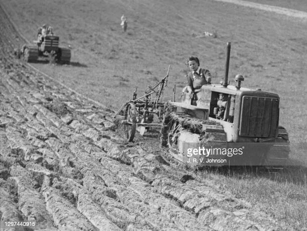 Mildred Parker, a member of the Women's Land Army ploughing furrows in a field with a Caterpillar D2 tracked crawler tractor on the Wittenham Clumps...