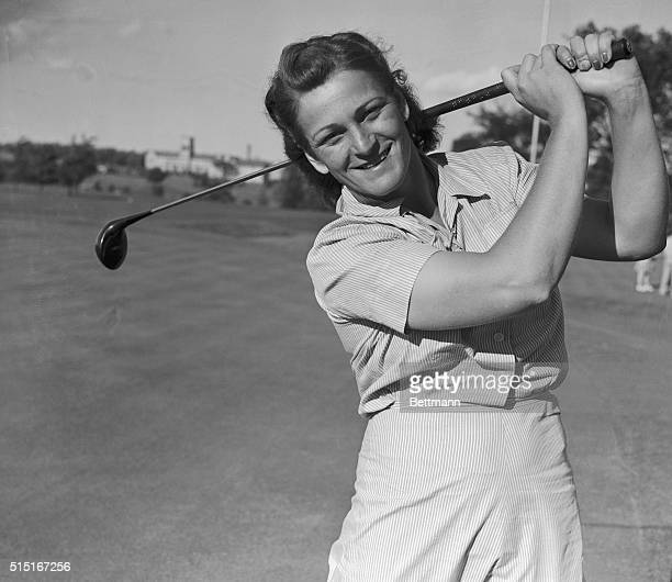 Mildred Zaharias, former Babe Didrikson, of Los Angeles, who is credited with hitting a golf ball farther than any other woman golfer, on the links...
