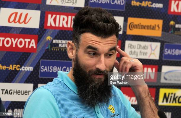 Mile Jedinak at the Caltex Socceroos official pre match press conference before their match against Honduras tomorrow night at ANZ Stadium on...