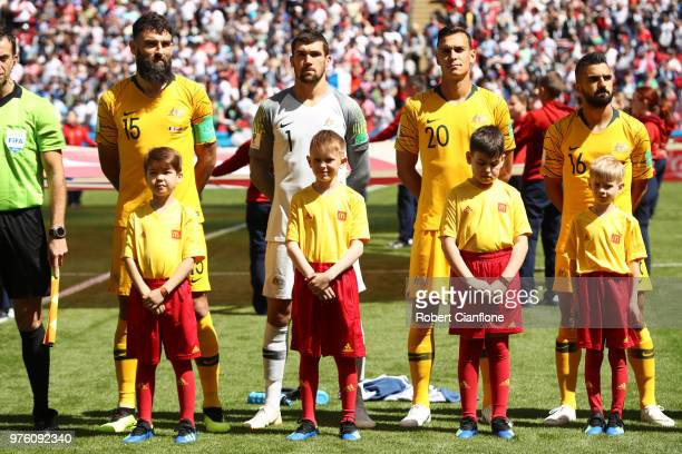 Mile Jedinak Mathew Ryan Trent Sainsbury and Aziz Behich of Australia line up ahead of during the 2018 FIFA World Cup Russia group C match between...