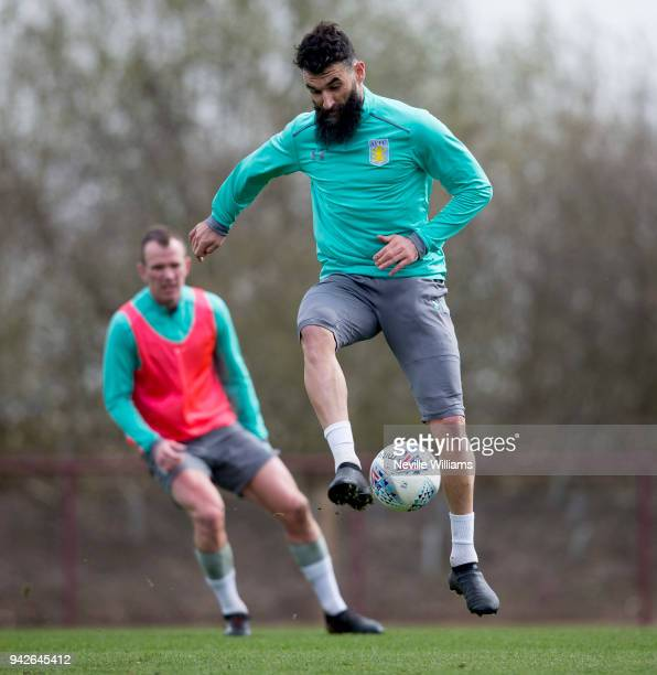 Mile Jedinak of Aston Villa in action during a a training session at the club's training ground at Bodymoor Heath on April 06 2018 in Birmingham...