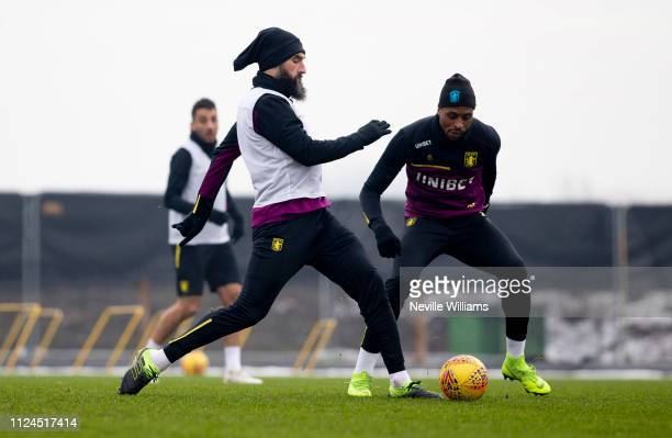 Mile Jedinak of Aston Villa in action during a training session at Bodymoor Heath training ground on January 24, 2019 in Birmingham, England.