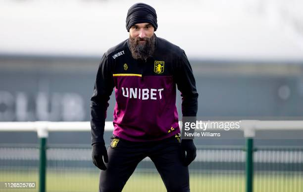 Mile Jedinak of Aston Villa in action during a training session at Bodymoor Heath training ground on January 31, 2019 in Birmingham, England.