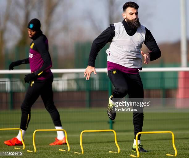 Mile Jedinak of Aston Villa in action during a training session at the Aston Villa Bodymoor Heath training ground on February 07, 2019 in Birmingham,...