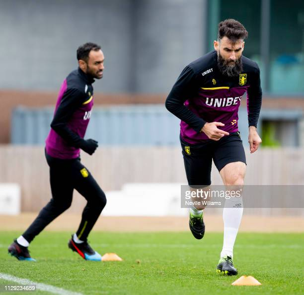 Mile Jedinak of Aston Villa in action during a training session at the club's training ground at Bodymoor Heath on March 08, 2019 in Birmingham,...