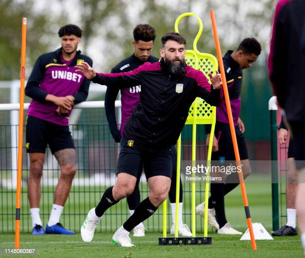 Mile Jedinak of Aston Villa in action during a training session at Bodymoor Heath training ground on April 25, 2019 in Birmingham, England.