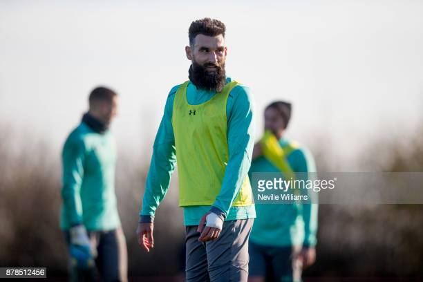 Mile Jedinak of Aston Villa in action during a training session at the club's training ground at Bodymoor Heath on November 24 2017 in Birmingham...