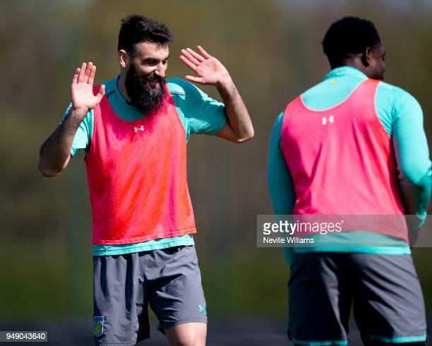 Mile Jedinak of Aston Villa in action during a training session at the club's training ground at Bodymoor Heath on April 20 2018 in Birmingham England