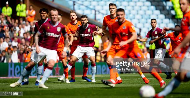 Mile Jedinak of Aston Villa in action during the Sky Bet Championship match between Aston Villa and Millwall at Villa Park on April 22, 2019 in...