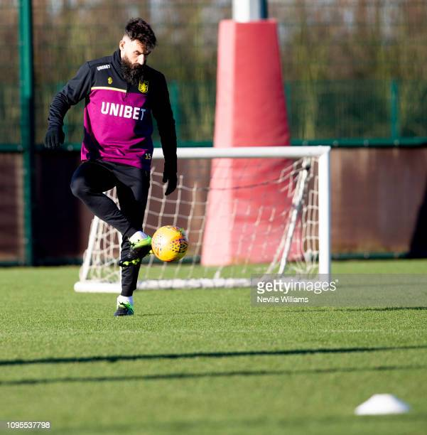 Mile Jedinak of Aston Villa in action during training session at Bodymoor Heath training ground on January 17, 2019 in Birmingham, England.