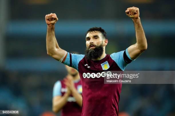 Mile Jedinak of Aston Villa reacts following the Sky Bet Championship match between Aston Villa and Cardiff City at Villa Park on April 10 2018 in...