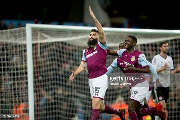 Mile Jedinak of Aston Villa scores for Aston Villa during the Sky Bet Championship match between Aston Villa and Sheffield United at Villa Park on...