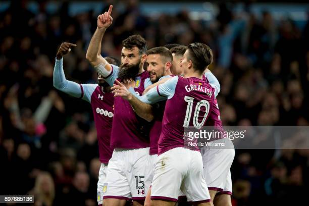Mile Jedinak of Aston Villa scores for Aston Villa during the Sky Bet Championship match between Aston Villa and Sheffield United at Villa Park on...