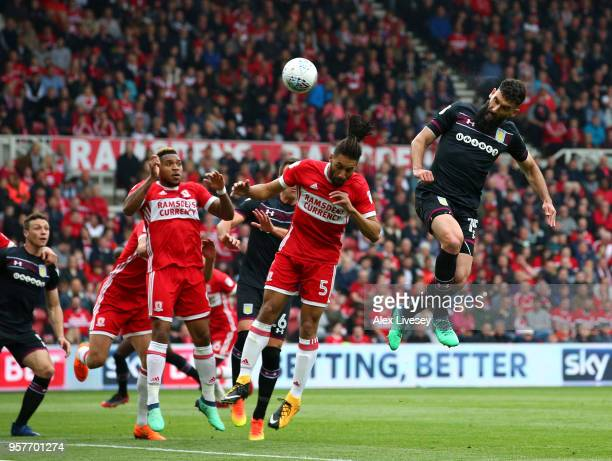 Mile Jedinak of Aston Villa scores his sides first goal during the Sky Bet Championship Play Off Semi Final First Leg match between Middlesbrough and...
