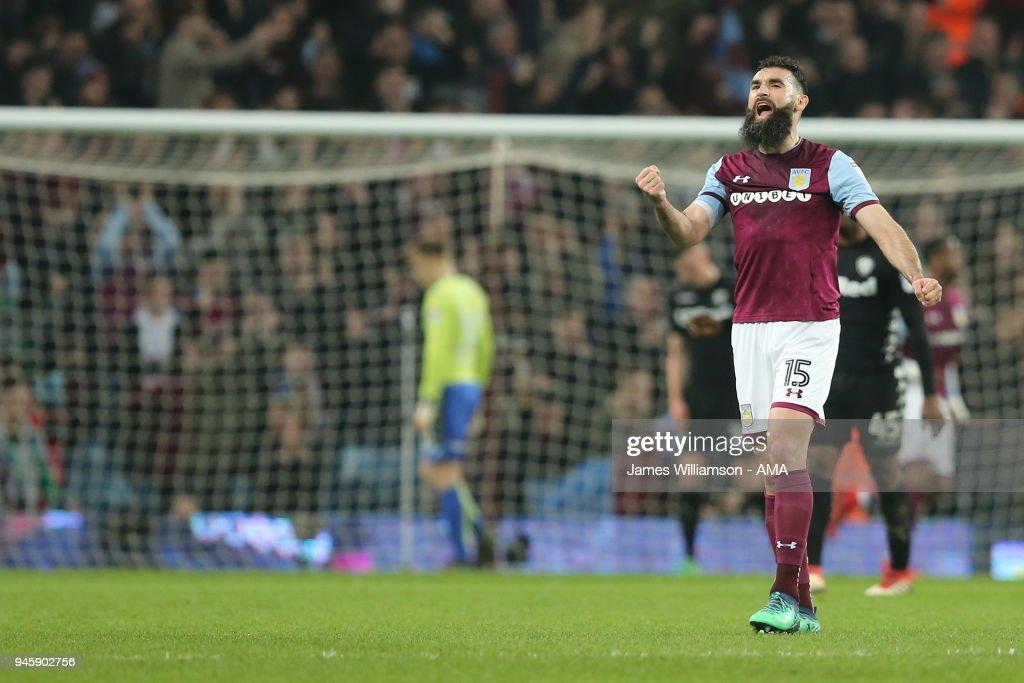 Mile Jedinak of Aston Villa shows his delight after Lewis ...