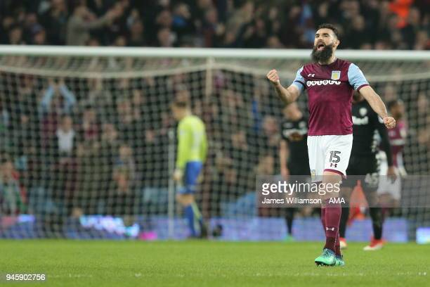 Mile Jedinak of Aston Villa shows his delight after Lewis Grabban of Aston Villa scores a goal to make it 10 during the Sky Bet Championship match...