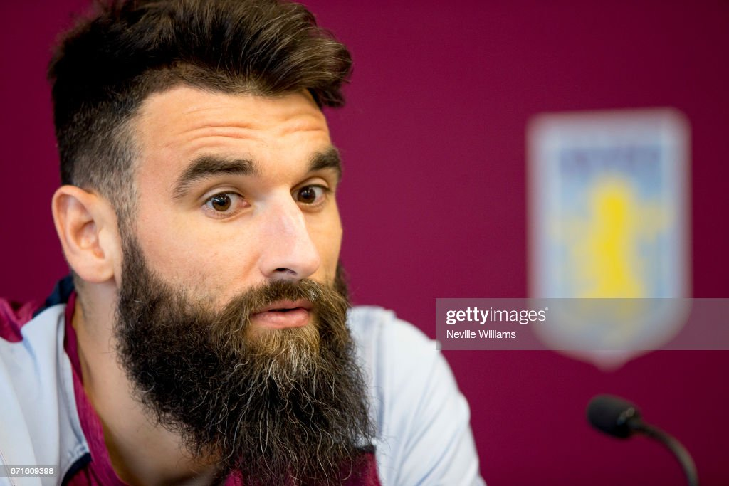 Mile Jedinak of Aston Villa talks to the press during a press conference at the club's training ground at Bodymoor Heath on April 21, 2017 in Birmingham, England.