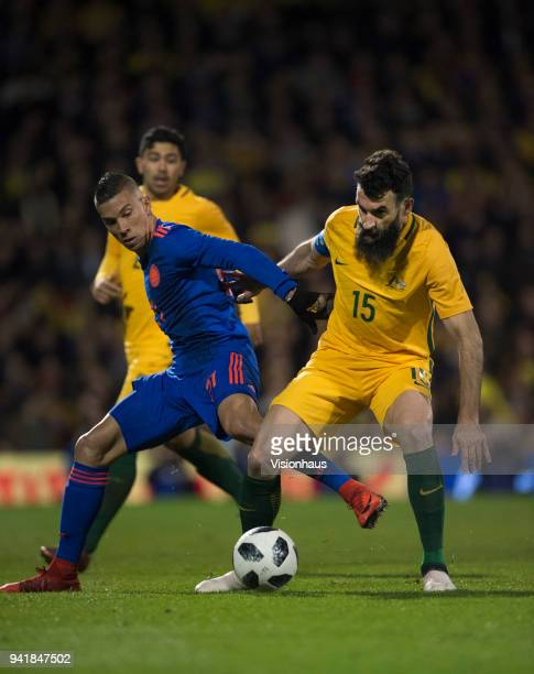 Mile Jedinak of Australia and Andres Mateus Uribe of Colombia in action during the International Friendly match between Australia and Colombia at...