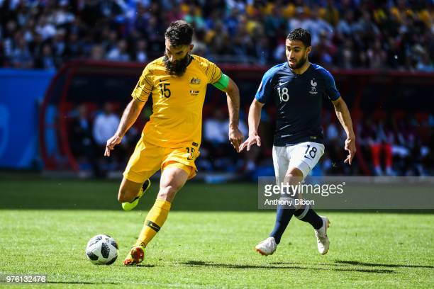 Mile Jedinak of Australia and Nabil Fekir of France during the 2018 FIFA World Cup Russia group C match between France and Australia at Kazan Arena...