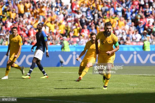 Mile Jedinak of Australia celebrates after scoring a penalty for his team's first goal during the 2018 FIFA World Cup Russia group C match between...