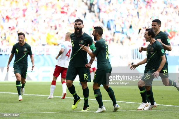 Mile Jedinak of Australia celebrates after scoring his team's first goal during the 2018 FIFA World Cup Russia group C match between Denmark and...