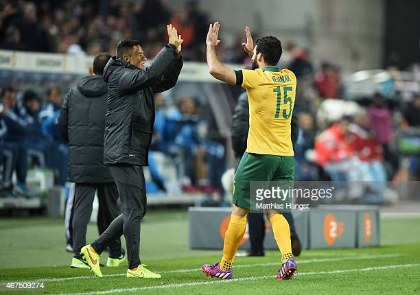 Mile Jedinak of Australia celebrates after scoring his team's second goal during the International Friendly match between Germany and Australia at...