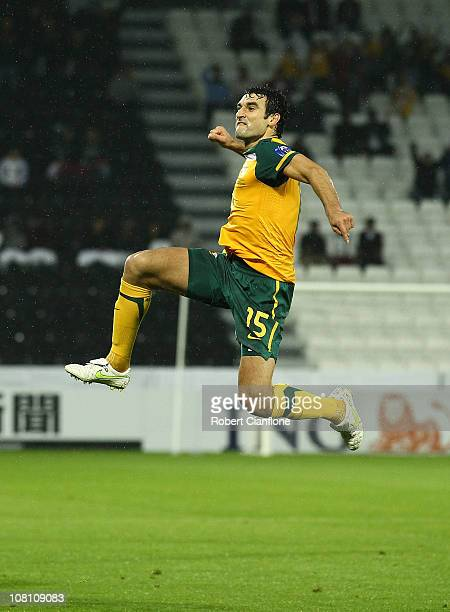 Mile Jedinak of Australia celebrates his goal during the AFC Asian Cup Group C match between the Australian Socceroos and Bahrain at AlSadd Stadium...