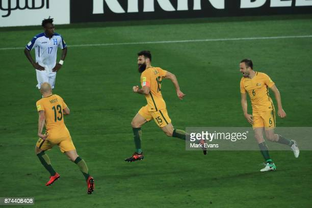 Mile Jedinak of Australia celebrates his second goal of the gameduring the 2018 FIFA World Cup Qualifiers Leg 2 match between the Australian...