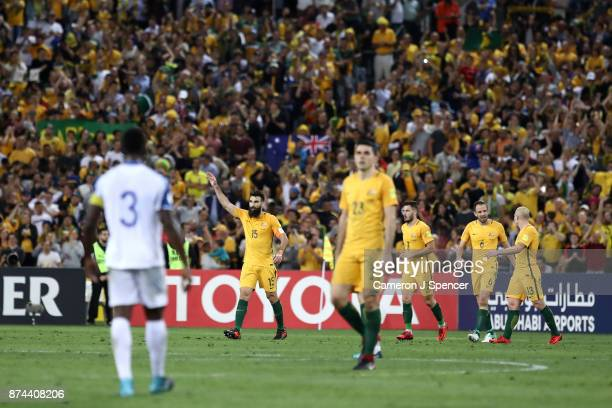 Mile Jedinak of Australia celebrates kicking a penalty goal during the 2018 FIFA World Cup Qualifiers Leg 2 match between the Australian Socceroos...