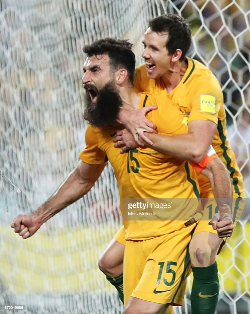 Mile Jedinak of Australia celebrates scoring a goal during the 2018 FIFA World Cup Qualifiers Leg 2 match between the Australian Socceroos and Honduras at ANZ Stadium on November 15, 2017 in Sydney, Australia.