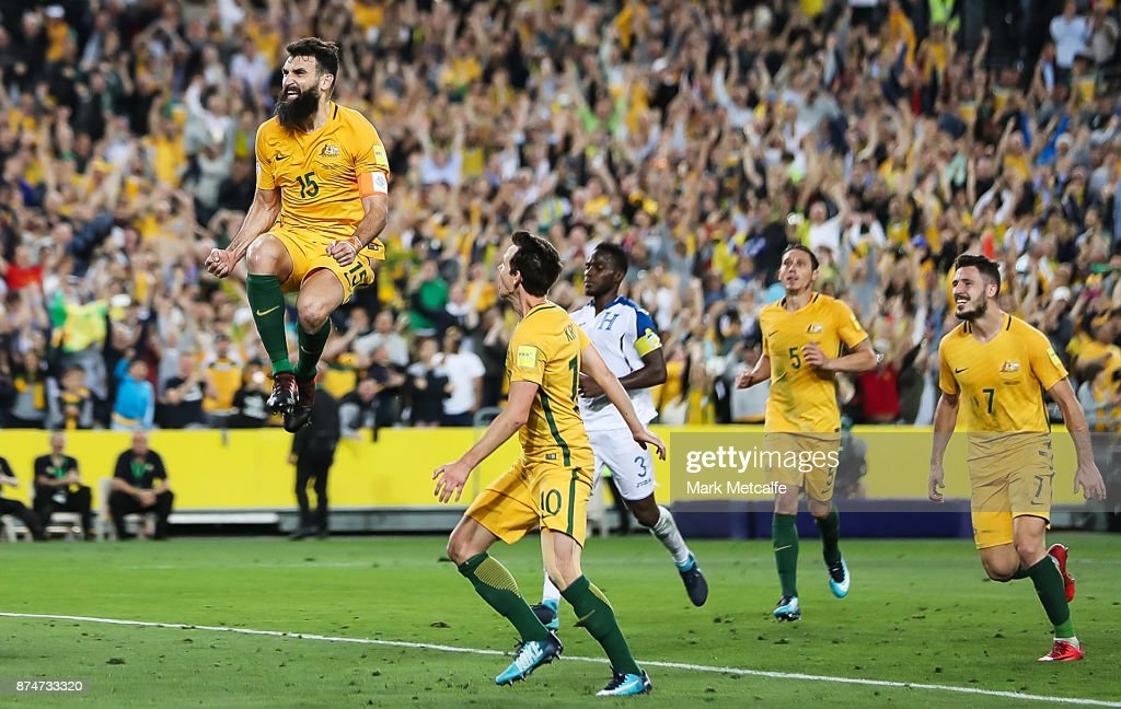 Mile Jedinak of Australia celebrates scoring his third goal and a hat trick during the 2018 FIFA World Cup Qualifiers Leg 2 match between the Australian Socceroos and Honduras at ANZ Stadium on November 15, 2017 in Sydney, Australia.