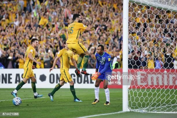 Mile Jedinak of Australia celebrates scoring his third goal during the 2018 FIFA World Cup Qualifiers Leg 2 match between the Australian Socceroos...
