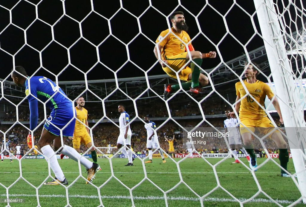 Mile Jedinak of Australia celebrates scoring his third goal during the 2018 FIFA World Cup Qualifiers Leg 2 match between the Australian Socceroos and Honduras at ANZ Stadium on November 15, 2017 in Sydney, Australia.