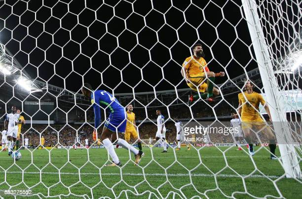 Mile Jedinak of Australia celebrates scoring his third goal during the 2018 FIFA World Cup Qualifiers Leg 2 match between the Australian Socceroos...