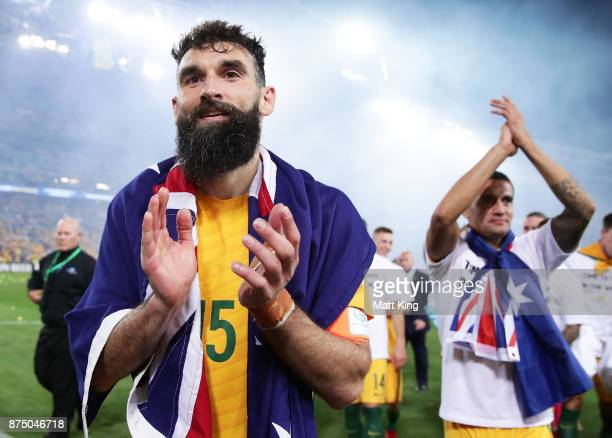 Mile Jedinak of Australia celebrates victory after the 2018 FIFA World Cup Qualifiers Leg 2 match between the Australian Socceroos and Honduras at...
