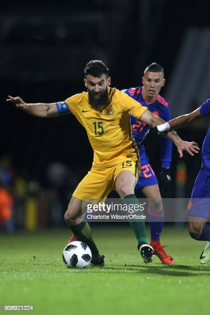 Mile Jedinak of Australia during the International Friendly match between Australia and Colombia at Craven Cottage on March 27 2018 in London England