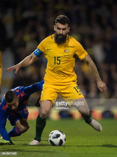 Mile Jedinak of Australia in action during the International Friendly match between Australia and Colombia at Craven Cottage on March 27 2018 in...