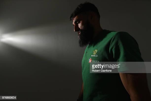 Mile Jedinak of Australia is seen after an Australia Socceroos media opportunity at Stadium Trudovye Rezervy on June 17 2018 in Kazan Russia