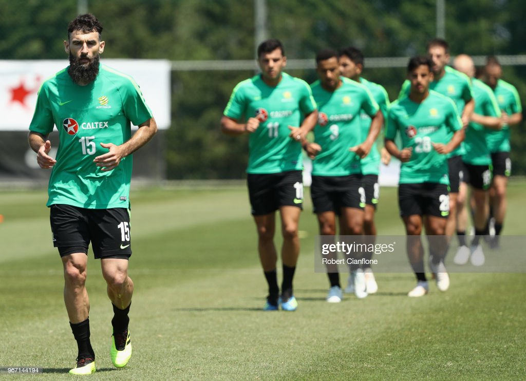 Mile Jedinak of Australia jogs during the Australian Socceroos Training Session at the Gloria Football Club on June 4, 2018 in Antalya, Turkey.