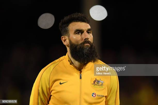 Mile Jedinak of Australia looks on ahead of the International Friendly between Australia and Colombia at Craven Cottage on March 27 2018 in London...
