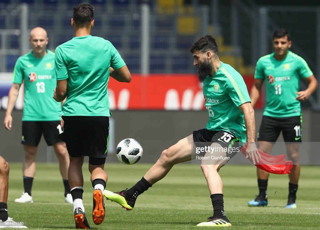 Mile Jedinak of Australia looks to get the ball during an Australia Socceroos training session at NV Arena on May 31, 2018 in Sankt Polten, Austria.