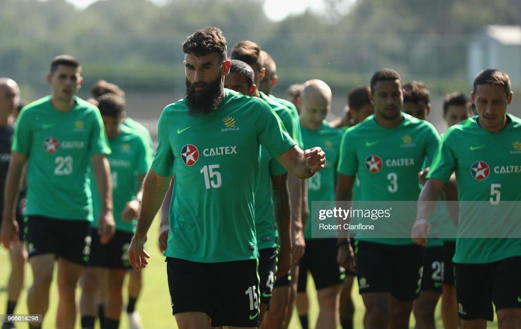 Mile Jedinak of Australia prepares to warm up during the Australian Socceroos Training Session at the Gloria Football Club on June 3, 2018 in Antalya, Turkey.