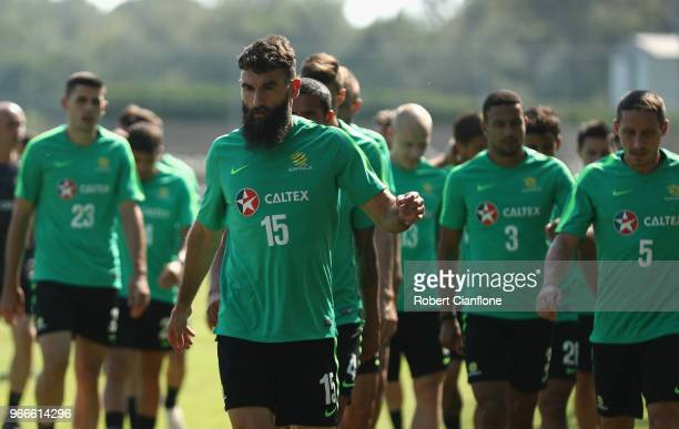 Mile Jedinak of Australia prepares to warm up during the Australian Socceroos Training Session at the Gloria Football Club on June 3 2018 in Antalya...