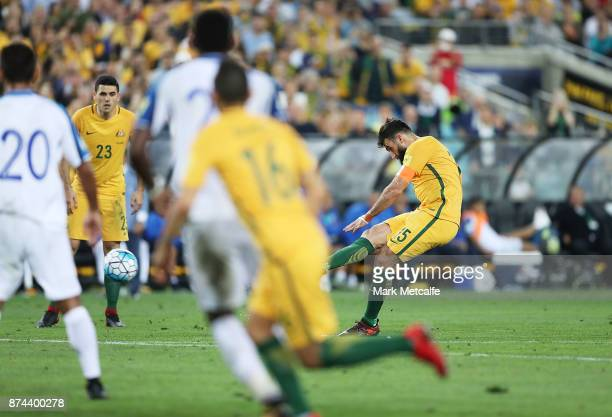 Mile Jedinak of Australia scores a goal Australia during the 2018 FIFA World Cup Qualifiers Leg 2 match between the Australian Socceroos and Honduras...