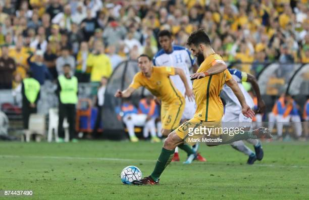 Mile Jedinak of Australia scores a penalty during the 2018 FIFA World Cup Qualifiers Leg 2 match between the Australian Socceroos and Honduras at ANZ...