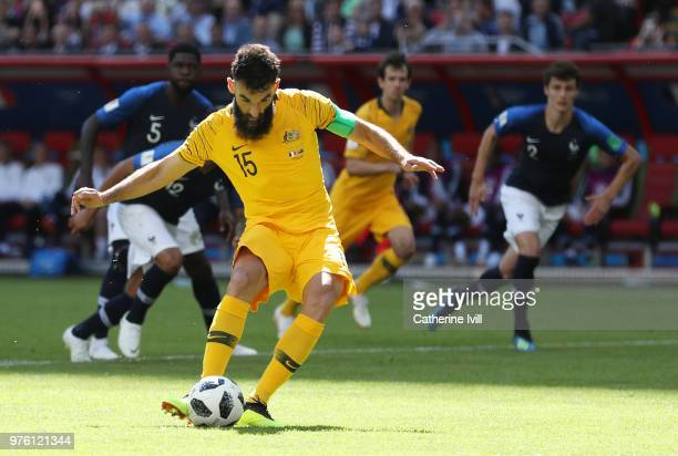 Mile Jedinak of Australia scores a penalty for his team's first goal during the 2018 FIFA World Cup Russia group C match between France and Australia...